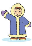 Eskimo. Raised his hand and welcomes you Royalty Free Stock Photography
