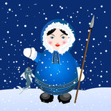 Eskimo. Cartoon eskimo girl with spear and caught fish over a snowing winter background Stock Photography