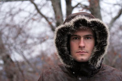 Eskimo. Man in jacket that looks like eskimo Stock Image