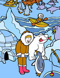 Eskimo in Alaska. Child lives near an igloo and fishes in the arctic cold with polar bear, sea lion, penguins, and sled dogs Stock Photography