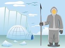 Eskimo and arctic landscape Stock Image