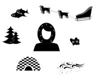 The Eskimo black. Set of icons in the style of a flat design on the theme of Eskimo Royalty Free Stock Photos