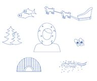The Eskimo blue. Set of icons in the style of a flat design on the theme of Eskimo Royalty Free Stock Photography