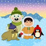 Eskimo boy with arctic animals. Vector illustration, eps Royalty Free Stock Photos