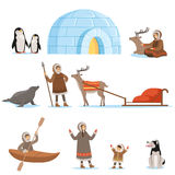Eskimo characters in traditional clothing and their arctic animals. Life in the far north. Set of colorful cartoon Royalty Free Stock Photo