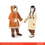 Eskimo couple flat 3d isometric costume collection Stock Images