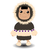 Eskimo. Cute eskimo boy with fluffy fur coat. Vector illustration Royalty Free Stock Photos