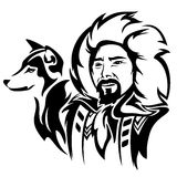 Eskimo with dog. Eskimo man with husky dog - black and white vector portrait Royalty Free Stock Photography