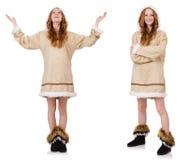 Eskimo dziewczyna odizolowywająca na bielu Fotografia Royalty Free