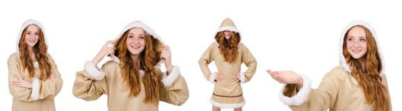 Eskimo dziewczyna odizolowywająca na bielu Obrazy Stock