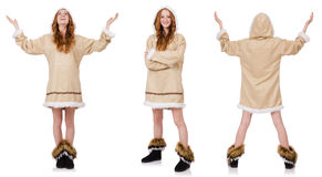 Eskimo dziewczyna odizolowywająca na bielu Zdjęcia Stock