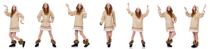 Eskimo dziewczyna odizolowywająca na bielu Obraz Stock