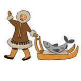 Eskimo with fish. Eskimo carries a fish on a sled Royalty Free Stock Photos