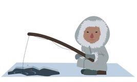 Eskimo fisherman. Image of an eskimo fisherman fishing for fish Stock Photography