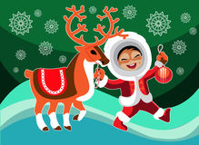 Free Eskimo Girl And Reindeer Stock Images - 60765674