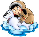 Eskimo girl with baby seal. Color illustration Royalty Free Stock Photos