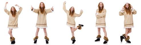 The eskimo girl  isolated on white Stock Image
