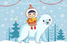 An Eskimo girl sits on a white bear and holds a gift in her hands. vector illustration