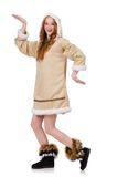 Eskimo girl wearing clos of all fur isolated on Royalty Free Stock Photo