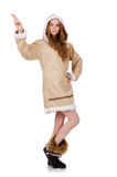 Eskimo girl wearing clos of all fur isolated on Royalty Free Stock Photos