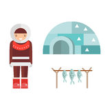 Eskimo house and people vector illustration. Igloo ice house eskimo vector illustration. Pole arctic people landscape season warm snow architecture. Building Royalty Free Stock Photography