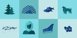 The Eskimo icons. Set of icons in the style of a flat design on the theme of Eskimo Royalty Free Stock Photos