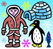 Eskimo, iglo, pinguïn, vissen en sneeuwvlokken - illustratie Stock Fotografie