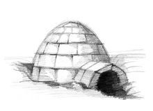 Eskimo igloo. Pencil drawing sketch Stock Image