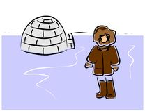 Eskimo and igloo Stock Photo