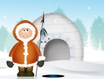 Eskimo and igloo. Illustration of Eskimo and igloo Royalty Free Stock Photos