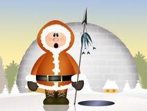 Eskimo and igloo Stock Photography