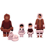 Eskimo, Inuit family of father, mother and kids with dog Stock Photos