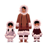 Eskimo, Inuit woman with two kids in warm winter clothes Stock Image