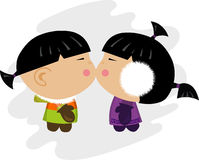 Eskimo kiss illustration Royalty Free Stock Photos