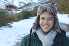 Eskimo male smiling outdoors with copy space.  stock images