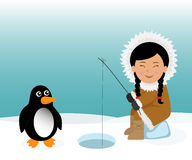 Eskimo and penguin fishing for fish. Concept background trip to Greenland Stock Photography