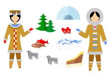 The Eskimo set. Set in the style of a flat design on the theme of Eskimo Stock Photography