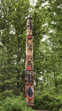 Eskimo totem pole. Traditional Eskimo totem pole in forest, Anchorage, Alaska Royalty Free Stock Image