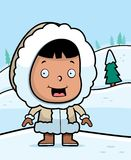 Eskimo Winter. A cartoon Eskimo child in the snow Stock Image