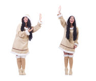The eskimo woman isolated on the white Stock Image