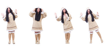 The eskimo woman isolated on the white Stock Photo
