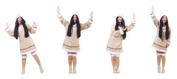 The eskimo woman isolated on the white Royalty Free Stock Image