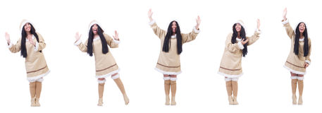 The eskimo woman isolated on the white Stock Photos