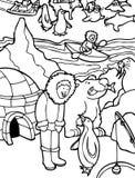 Eskimo in zwart-wit Alaska - royalty-vrije illustratie