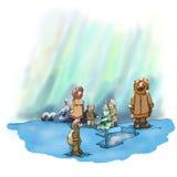 Eskimokerstmis en dageraad Stock Foto's