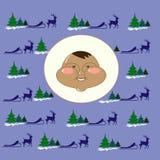 Eskimos Chukchi w północnym wektorowym tło reniferze, sanie, jedlina Obrazy Stock