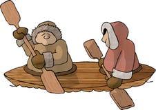 Eskimos in einem Kajak lizenzfreie abbildung