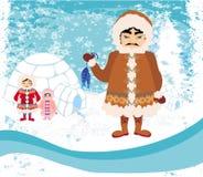 Eskimos family - abstract background. Illustration Royalty Free Stock Photos