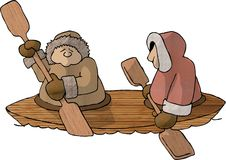 Eskimos in a Kayak. This illustration that I created depicts two eskimos paddling a wooden kayak Royalty Free Stock Image