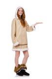 Eskimoska dziewczyna jest ubranym clos wszystkie futerko odizolowywający dalej Obraz Royalty Free